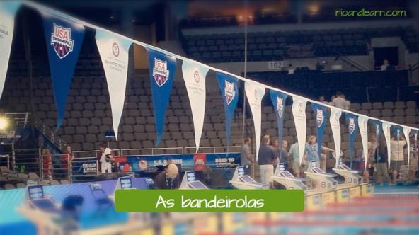 Objetos de uma piscina olímpica en portugués. Los banderines: As bandeirolas.