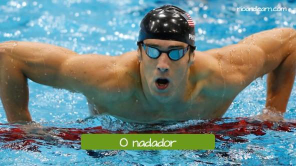 Vocabulario de Natación en portugués. El nadador: O nadador. Michael Phelps es el mejor nadador de la historia.