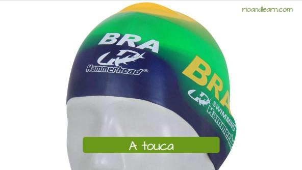 Vestuario de natación en portugués. El gorro de natación: A touca.
