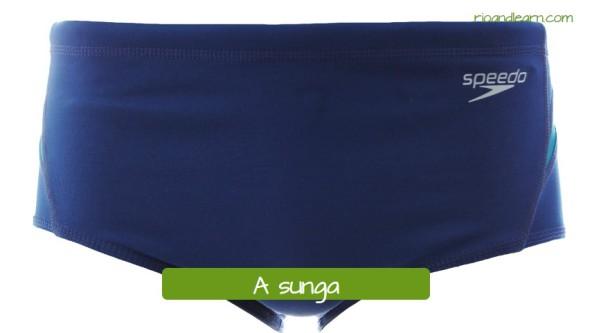 Ropas para natación en portugués. El bañador masculino: A sunga.