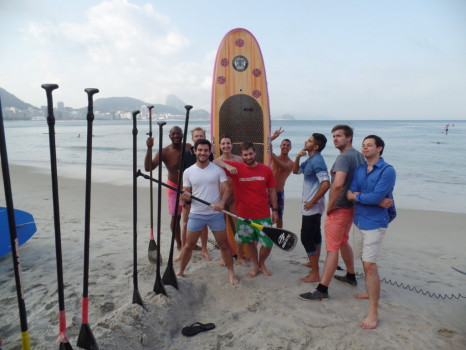 Surfing and fun at Copacabana.