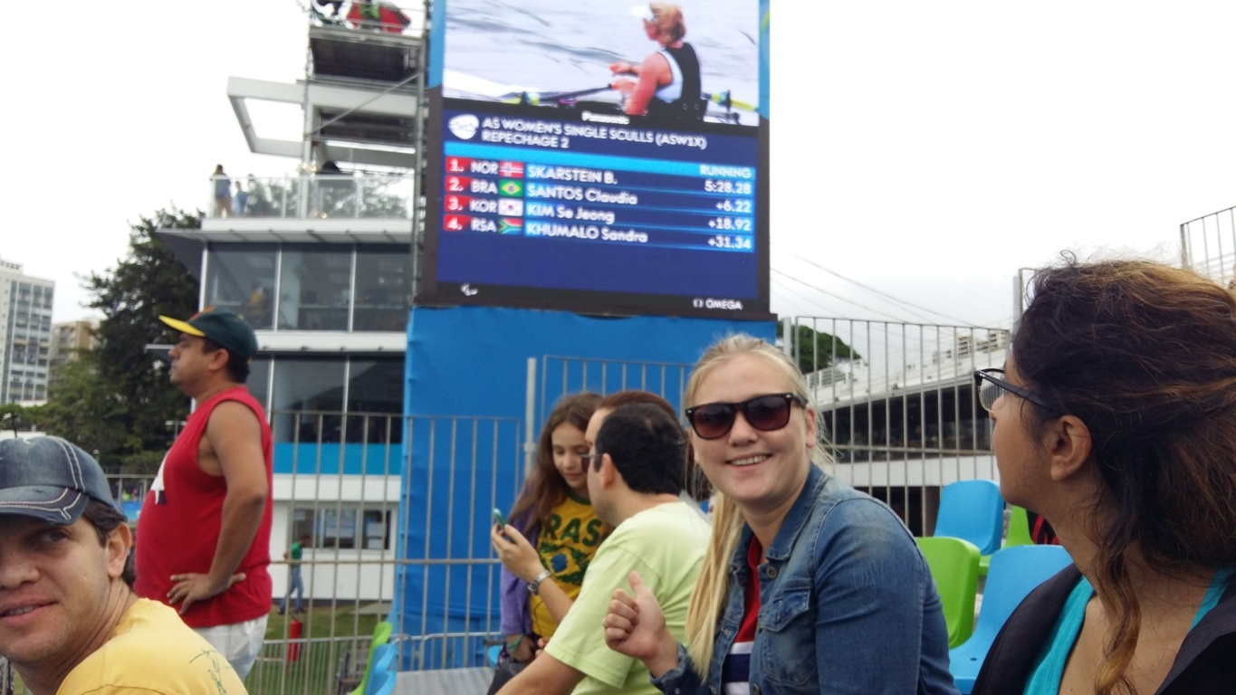 Cheering for Paralympics. Studen from Norway supporting for her country