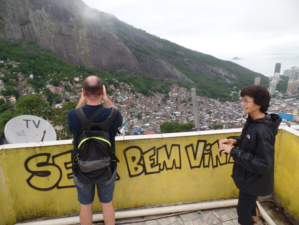 Wonderful Rocinha. Students taking pics and enjoying the view from the rooftop