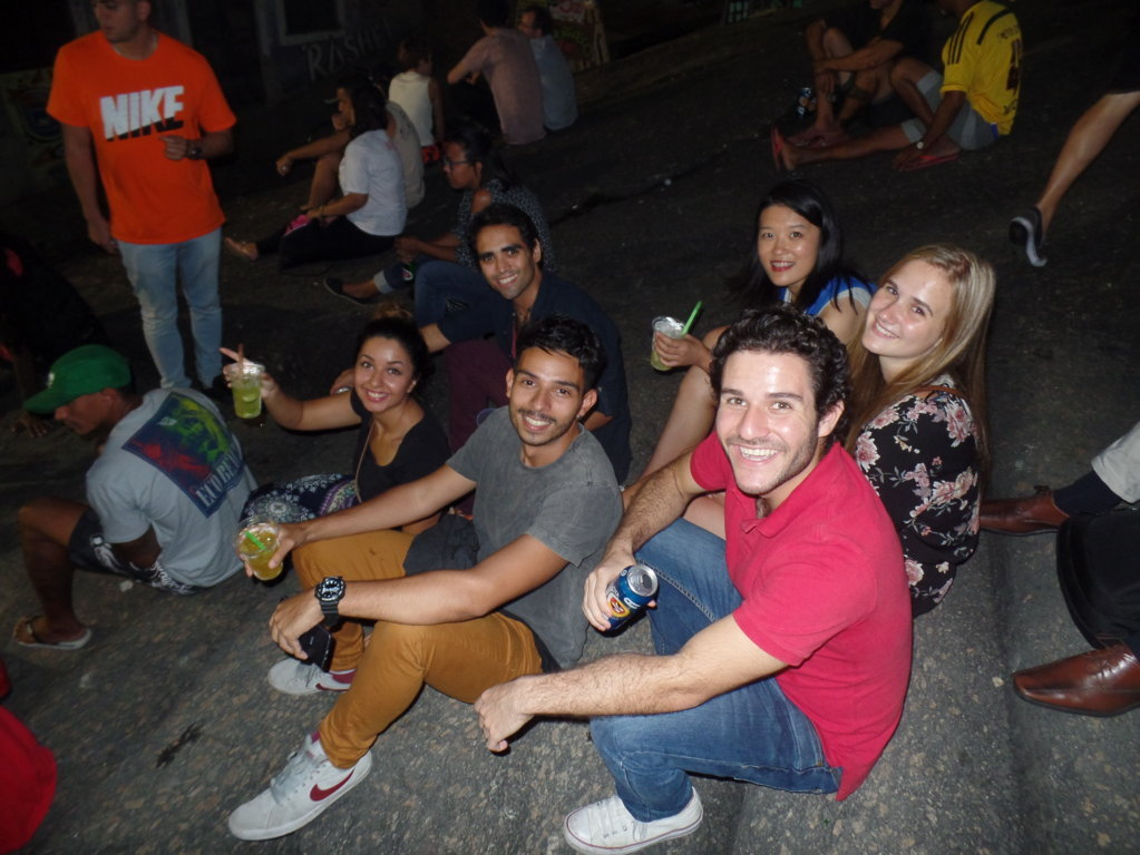 Partying at Pedra do Sal. Students enjoying the night where the samba was born.