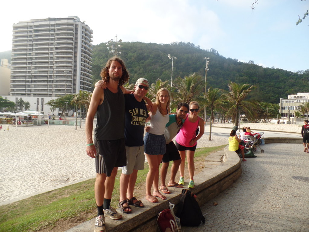 Micos, Portuguese and Fun. Preparing to start the hiking in Forte do Leme