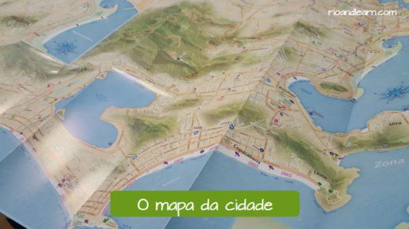 Exemplo de vocabulário para viajar em Português para estrangeiros: O mapa da cidade.