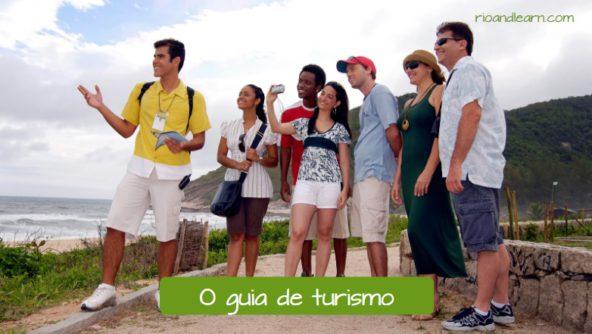 Exemplo de vocabulário de Viagem em Português: O guia de turismo.