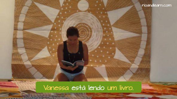 Nouns in Portuguese. Vanessa está lendo um livro.