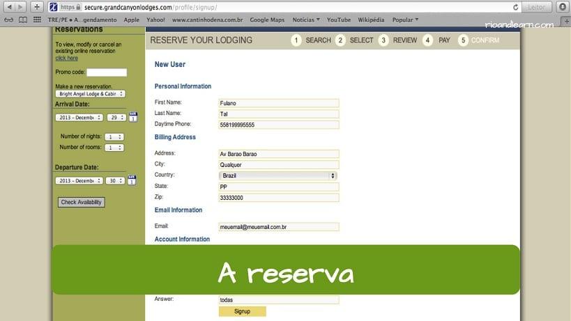 Reserva en portugués: a reserva.