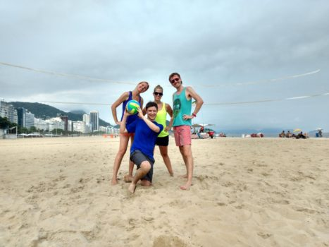Beach Volley and Portuguese. Playing beach volley at Copacabana Beach
