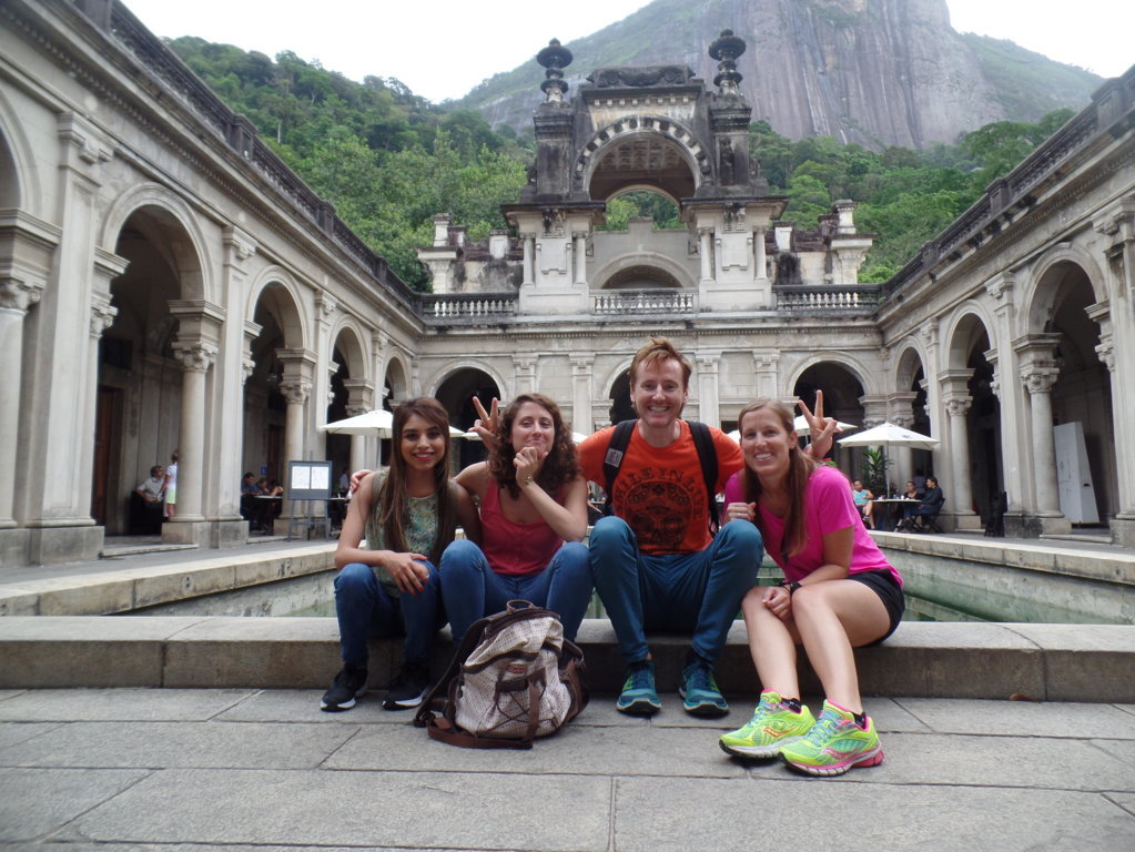 Talking at Parque Lage.