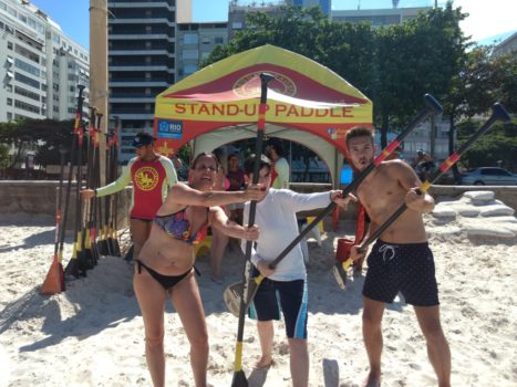 Paddle surf in Copa. Having fun and practicing Portuguese at Copacabana Beach
