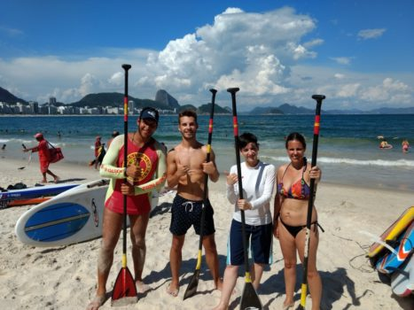 Paddle Surfing in Copacabana with Portuguese