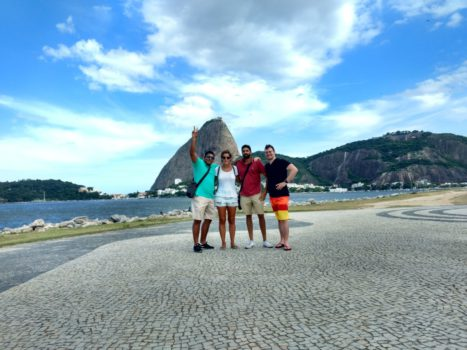 Studying and exploring in Botafogo. Portuguese students exploring and practicing.