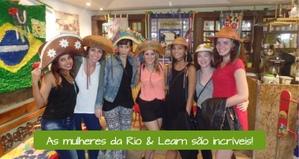 Women's Day in Brazil - let's talk about mulheres poderosas. Text on image: As mulheres da Rio & Learn são incríveis!
