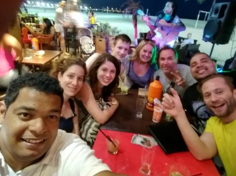 Beach Volley with Caipirinhas. Drinking caipirinhas at Copacabana Beach.