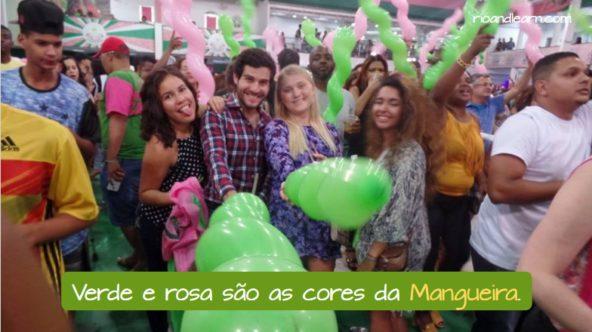 Escola de Samba Mangueira Verde e rosa são as cores da Mangueira.