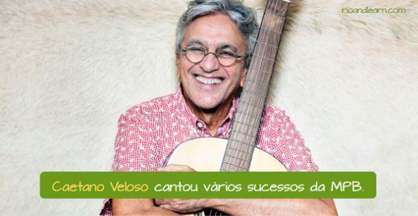 Brazilian singer Caetano Veloso. Caetano Veloso sang many hits of the Brazilian Popular Music.