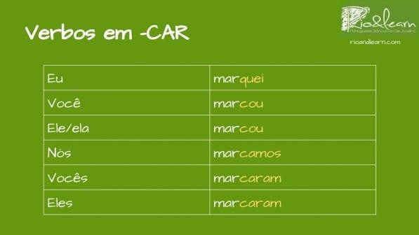 Pretérito Perfeito em Português. Verbo marcar. Eu marquei, você marcou, ele/ela marcou, nós marcamos, vocês marcaram, eles marcaram