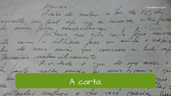 Example of post Office Vocabulary in Portuguese. The letter: a carta.