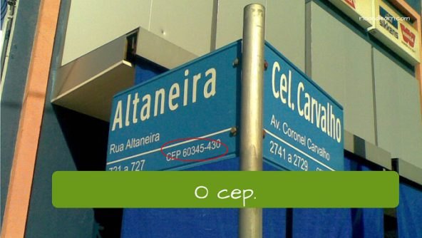 Post office in Portuguese. The zip code: o cep.