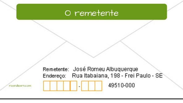 Vocabulary of Post office in Brazil. The sender: O remetente.