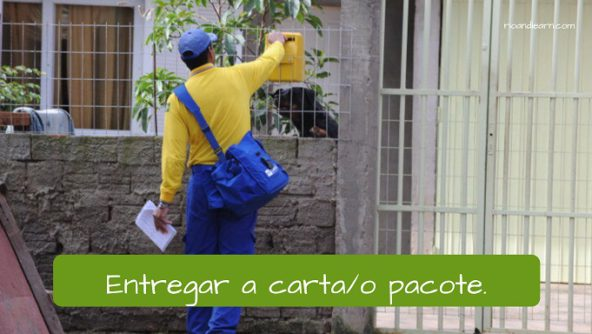 Examples of Portuguese vocabulary for Post office. Deliver the letter/package: Entregar a carta/ o pacote.