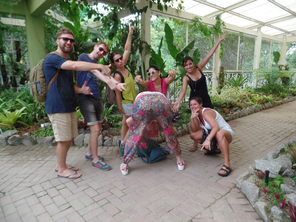 Having fun in the Botanical Garden.