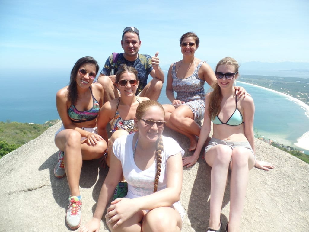 Beaches of Barra. Students at Pedra do Telégrafo with a nice view from the top.