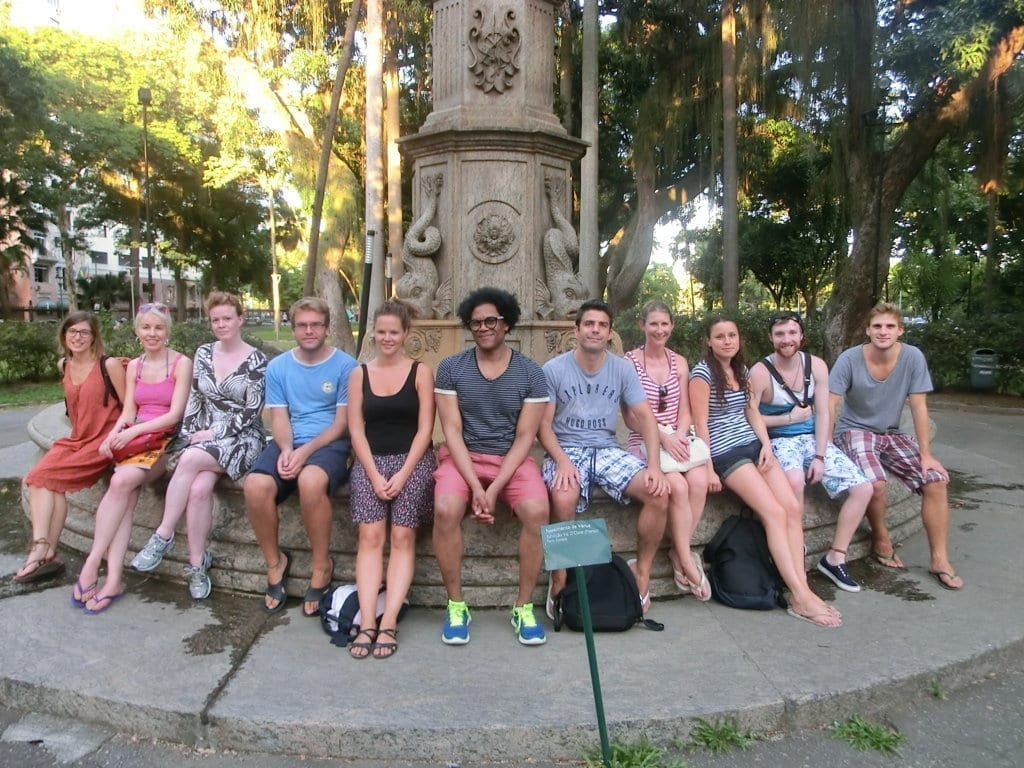 Catete Palace. Portuguese students relaxing and speaking Portuguese in Catete Park.