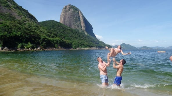 Having fun at Praia Vermelha.
