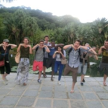 Students being silly at Jardim Botânico.