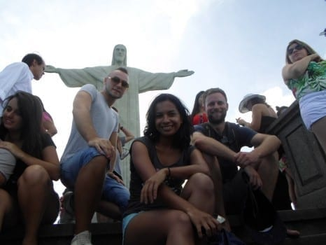 Our students having fun in Corcovado. fun things to do in rio de janeiro.