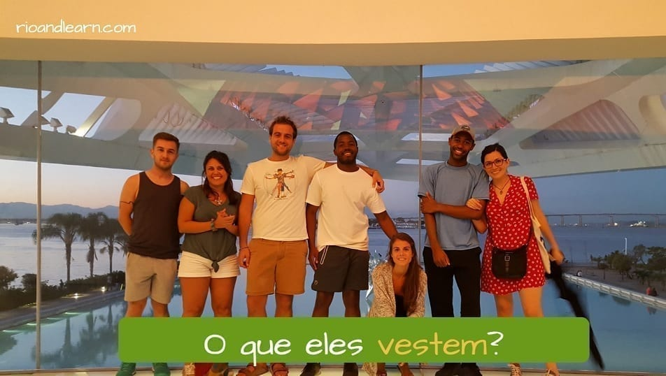 Exercise with the verb vestir in Portuguese: O que eles vestem?