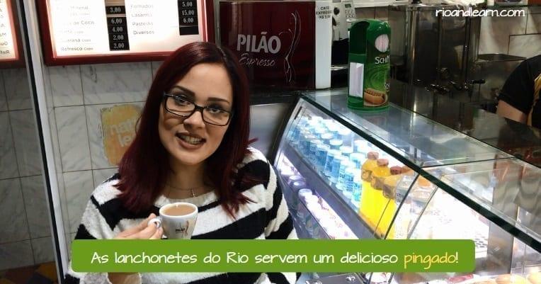 What is a Pingado in Brazil. As lanchonetes do Rio servem um delicioso pingado!