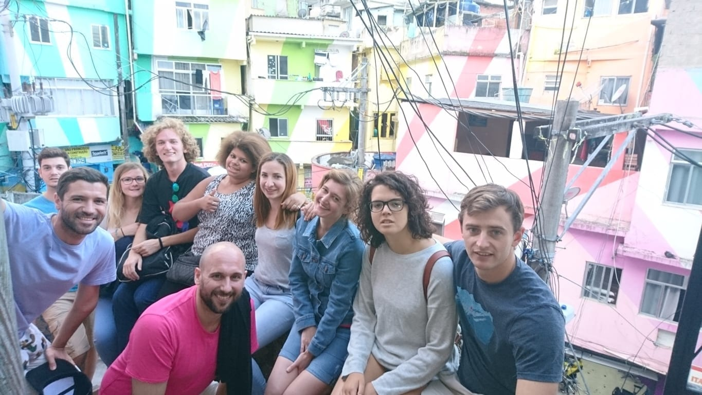 Foreigner Portuguese language students from Rio & Learn Portuguese School in the Favela Santa Marta.