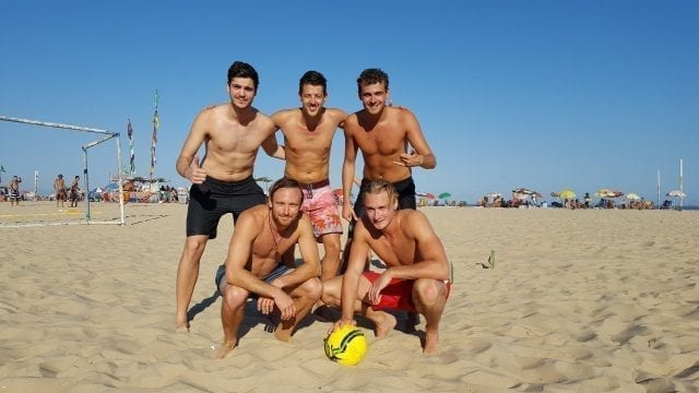 Our professional players enjoyed practicing beach Football and Portuguese.