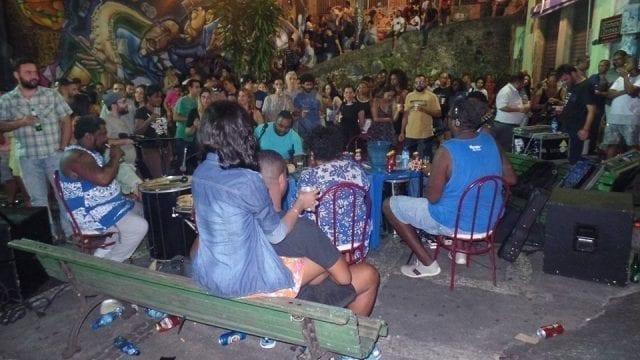 People gathered for a night of Samba at Pedra do Sal