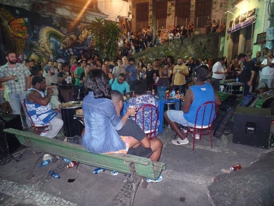 People gathered for a night of Samba at Pedra do Sal