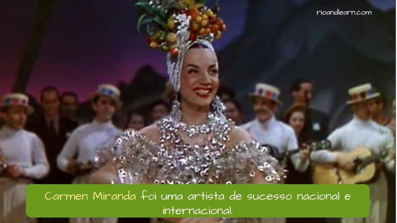 Cantora Brasileira Carmen Miranda. Carmen Miranda foi uma artista de sucesso nacional e internacional.