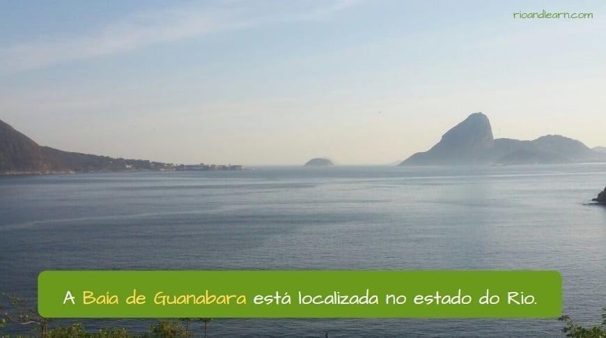 Baía de Guanabara no Rio de Janeiro. A Baía de Guanabara está localizada no estado do Rio.