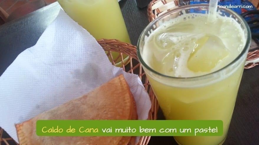 Bebidas brasileñas. Jugo de caña o Caldo de cana en portugués.