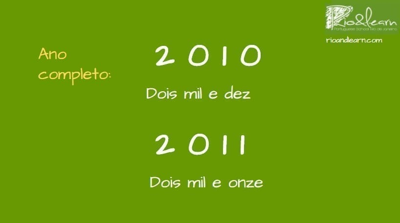 Saying Years in Portuguese. Ano completo: 2010: dois mil e dez. 2011: dois mil e onze