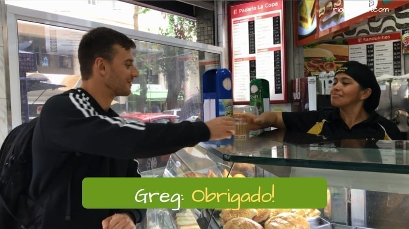 How to say Thank You in Portuguese. Greg: Obrigado!