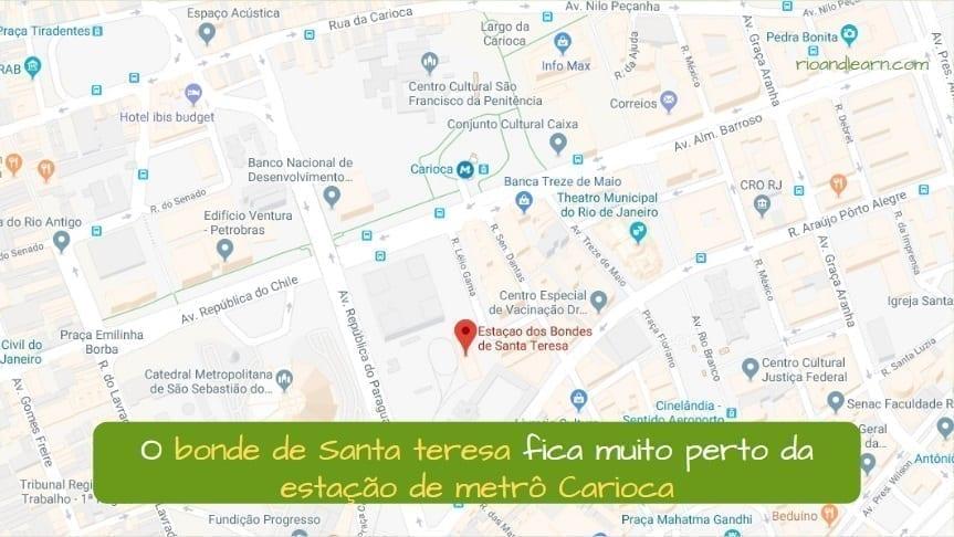 How to get to Santa Teresa Tram. O bonde de santa teresa fica muito Perto da estação de metrô Carioca.