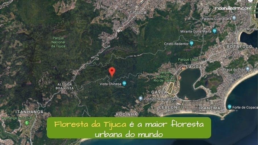 Mapa de la Floresta de Tijuca, la mayor Floresta Urbana del mundo.