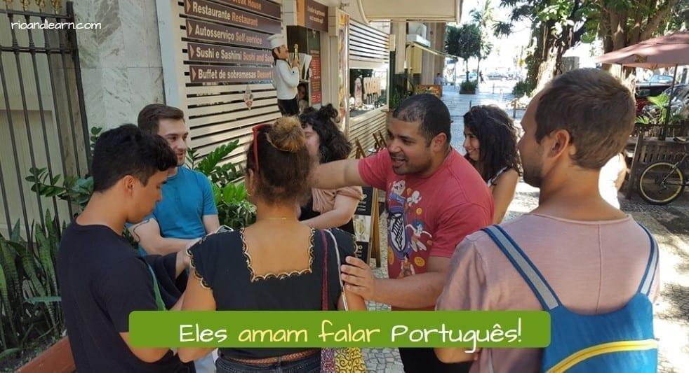 Portuguese Regular Verbs in AR. Eles amam Falar português.