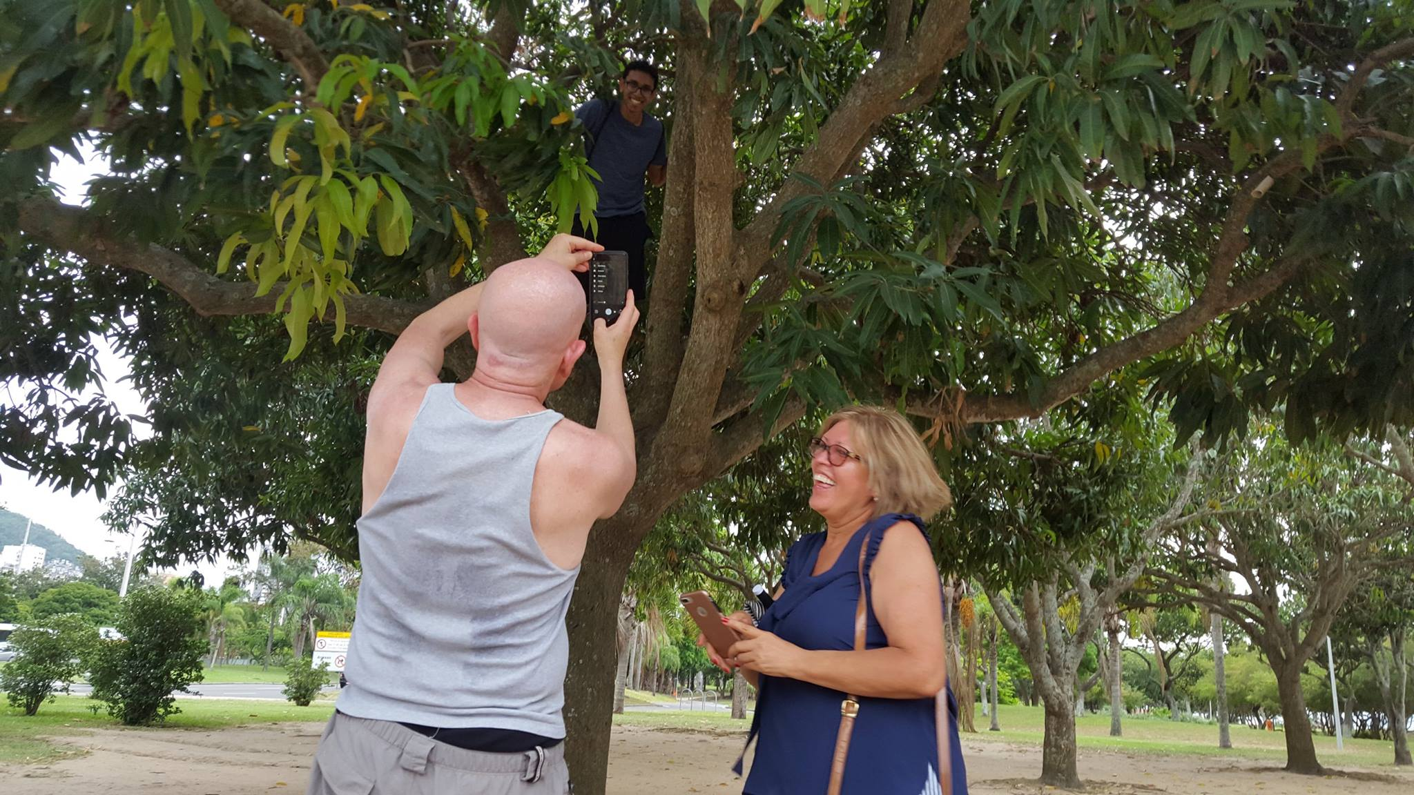 Did you know that students grow in trees? We didn't! Students climbing a tree at Botafogo.