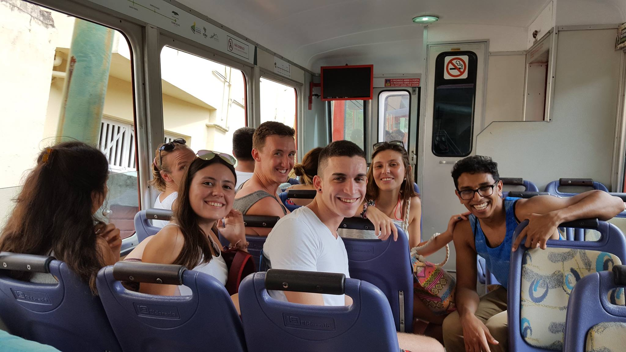 Everybody ready? Up we go! Students visiting Cristo Redentor: Christ the Redeemer.