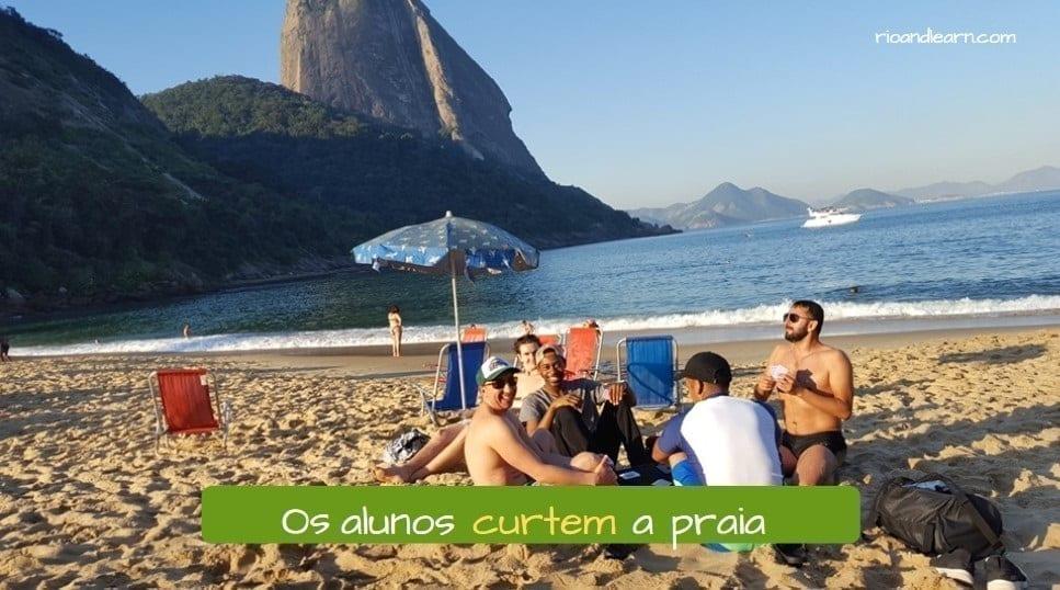 Portuguese verbs ending in IR: Os alunos curtem a praia.